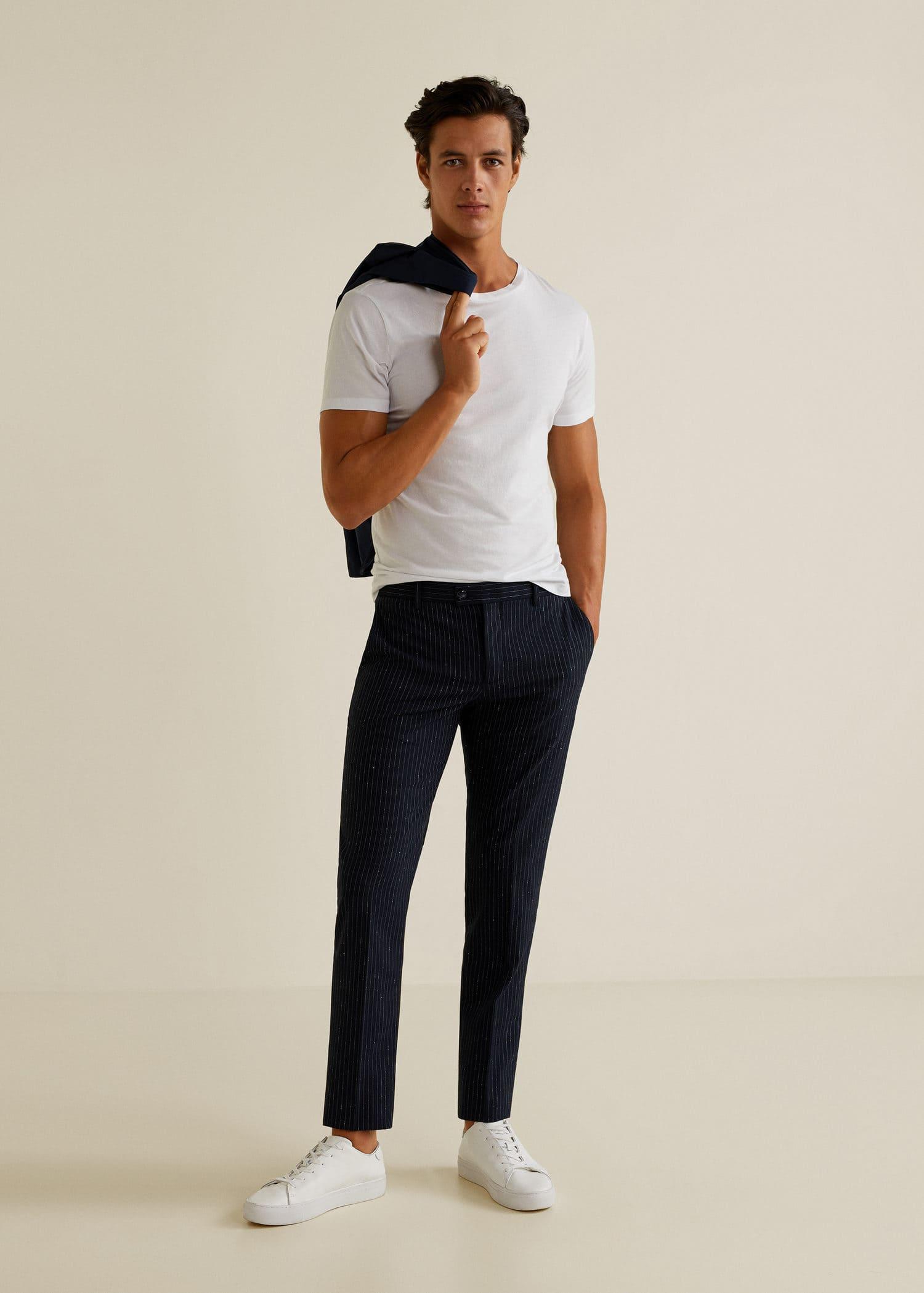 Pin stripe pantalon tissu extensible bouton zip devant