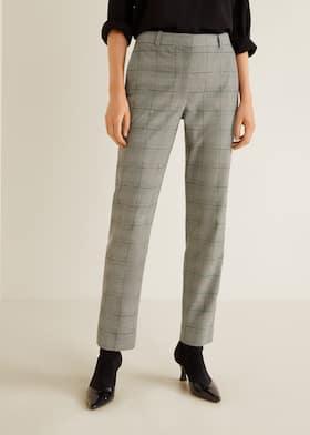 3631290062aa84 Straight checkered trousers - Women | Mango United Kingdom