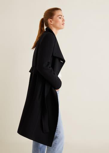 Belted wool coat - Women   Mango USA 1eb7ed1b802