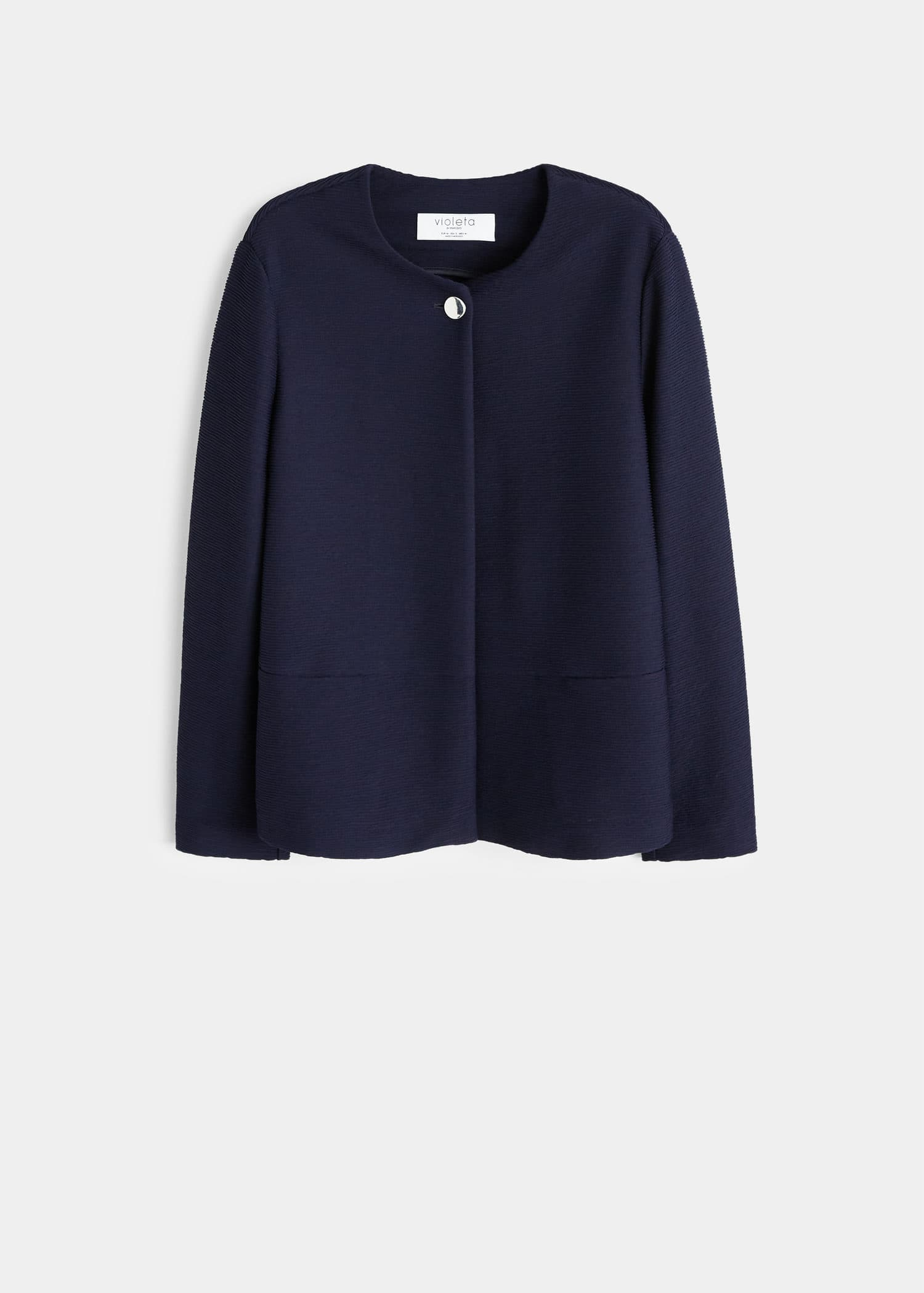 Texturerad jacka med knapp Jackor Stora storlekar   Mode