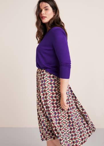 eccf74c8589a05 Printed pleated skirt - Plus sizes | Violeta by Mango United Kingdom