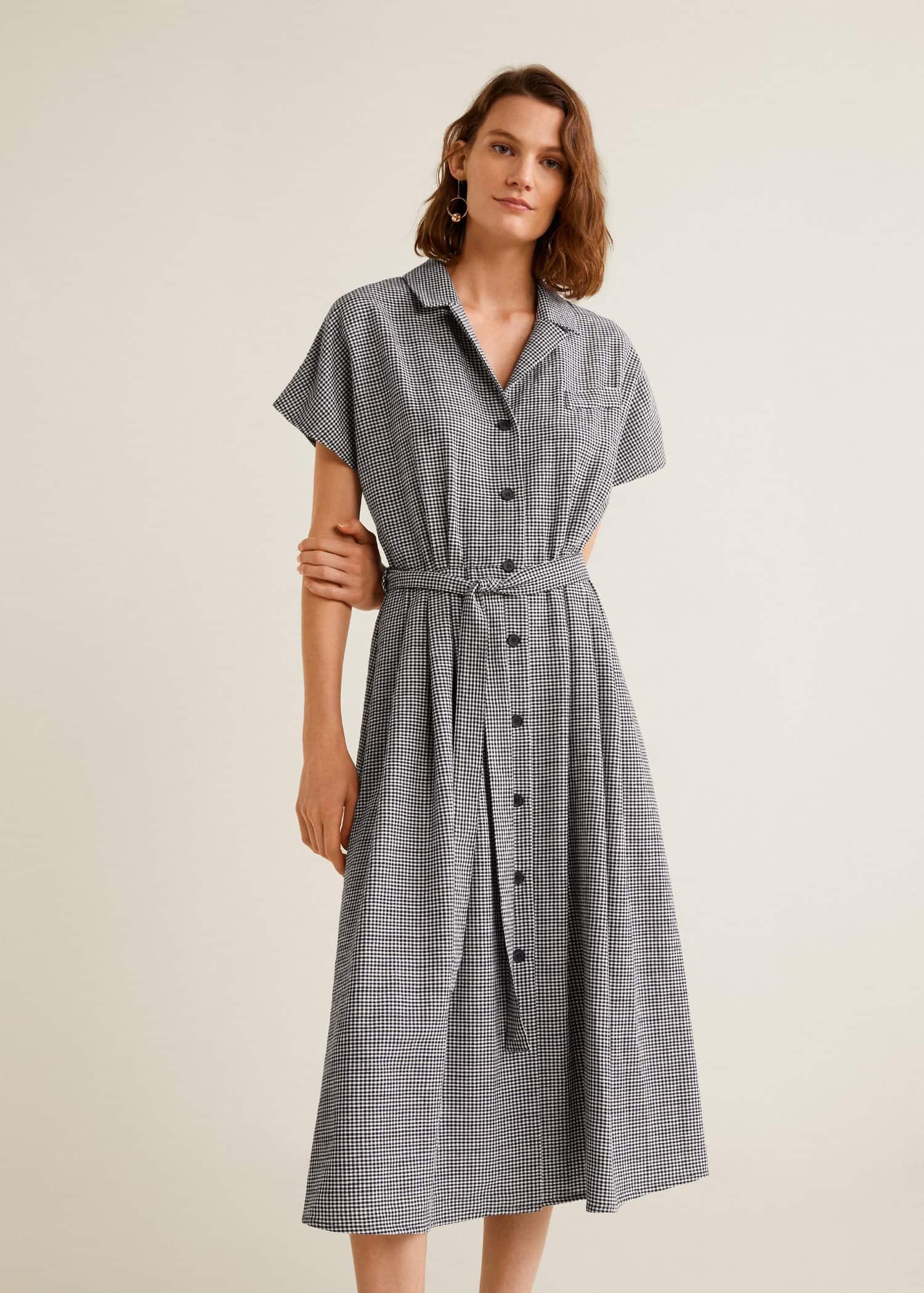 Robe coton vichy Femme   Mango France