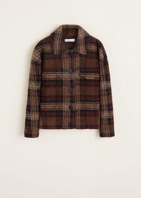 2d2c49e58 Checkered wool-blend jacket - Woman | Mango Singapore