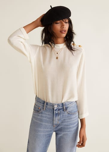 2905e211fc3e4a Buttons detail blouse - Woman   Mango Finland