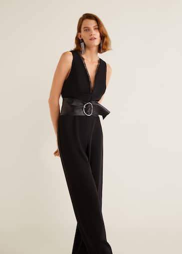 79a1bc716dc7 Lace v-neckline jumpsuit - Women