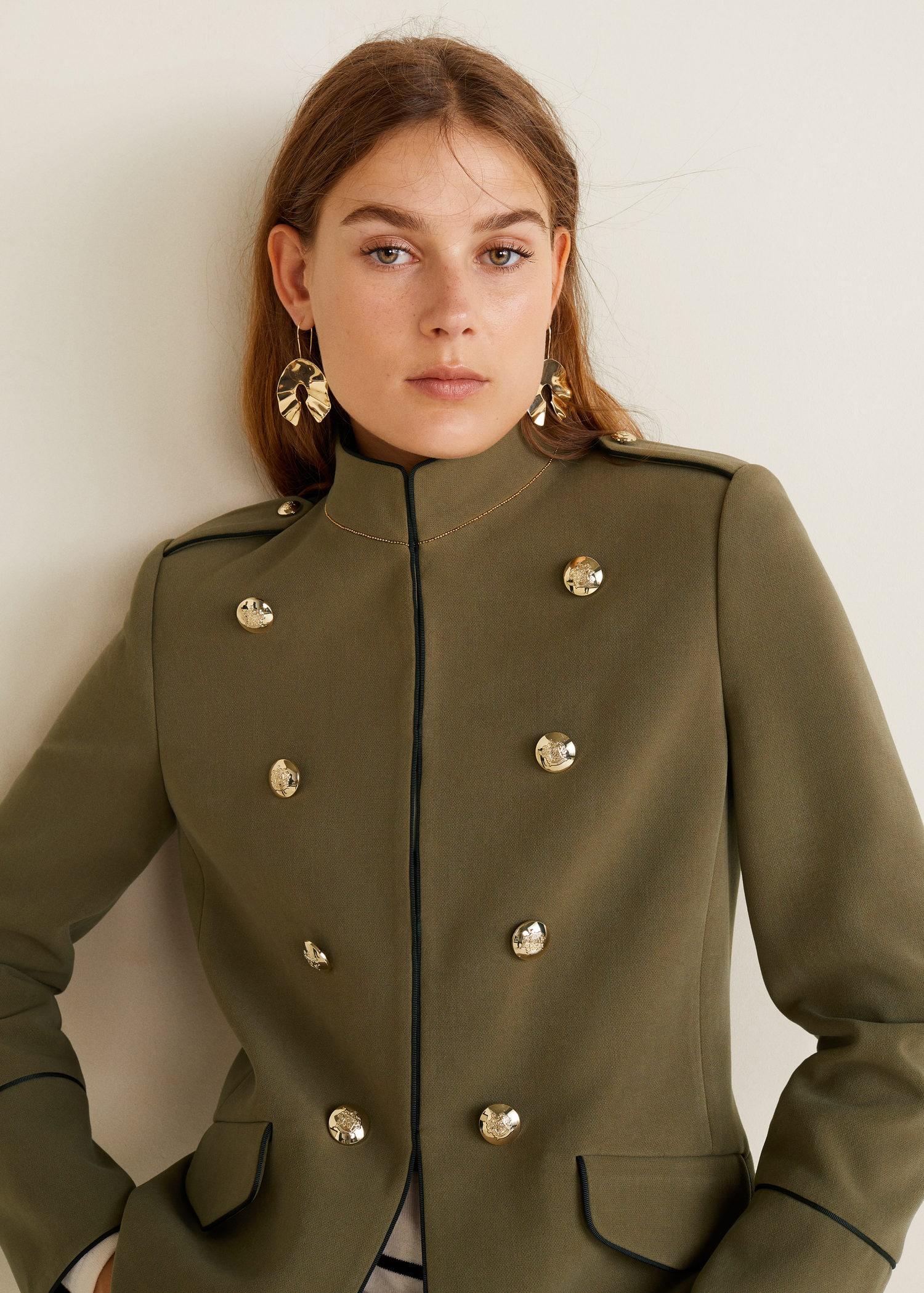 Chaqueta Mujer militar estilo abalorios MANGO España q8TApqwx