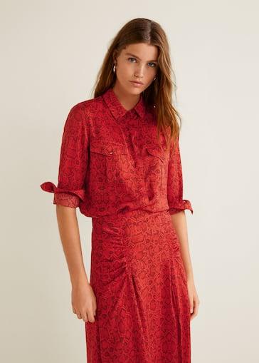 d6d5388fc04a Snake print shirt - Women | Mango United Kingdom