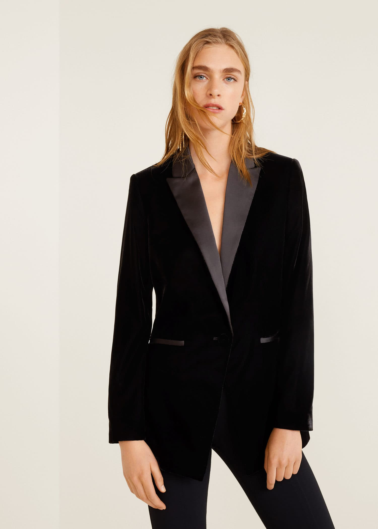 Coats, Jackets & Vests Zara Black Tuxedo Style Double Breasted Velvet Blazer Jacket AW18 Medium ...