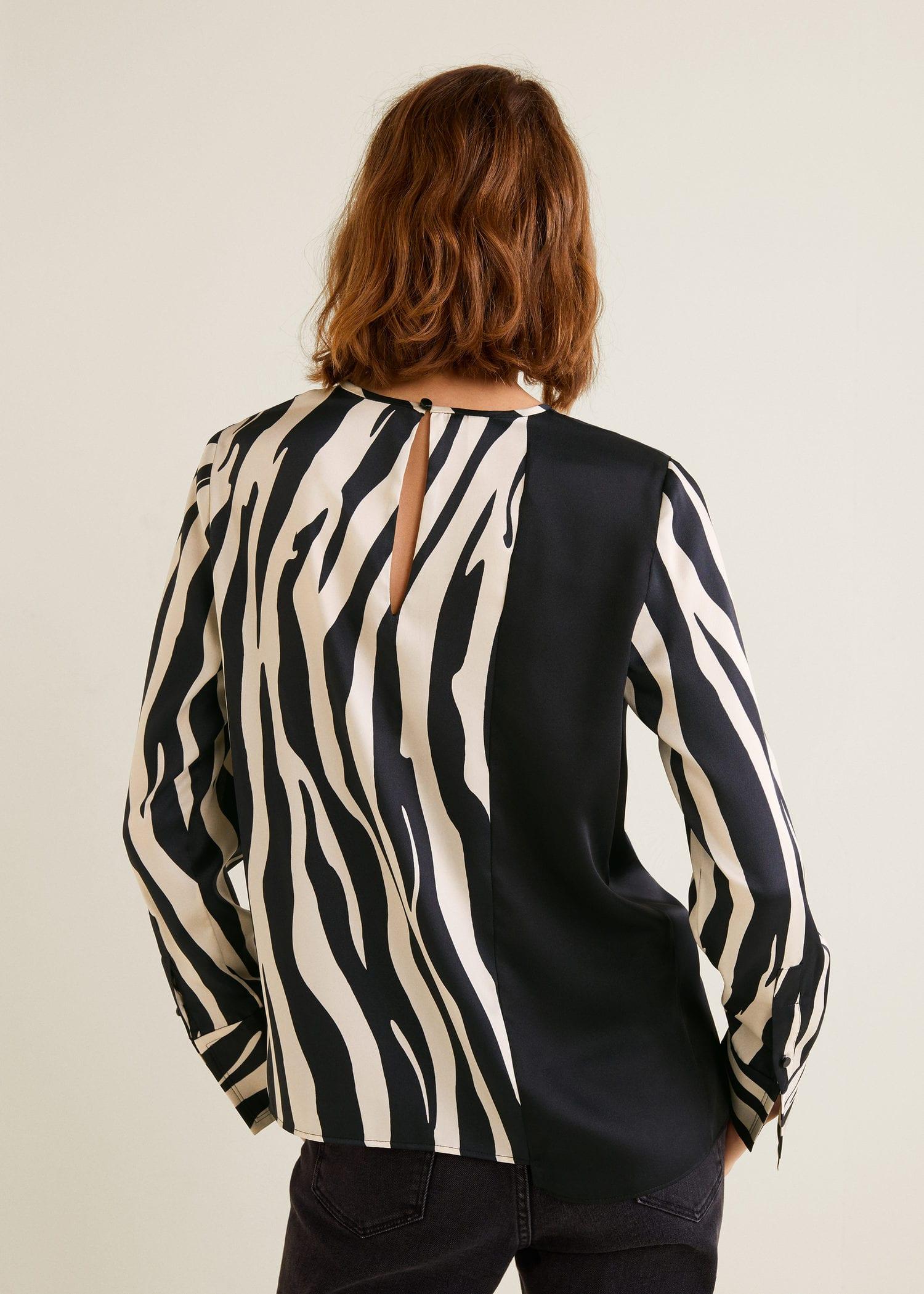 Woman Montenegro Blouse Print Mango Zebra 0xHB6B