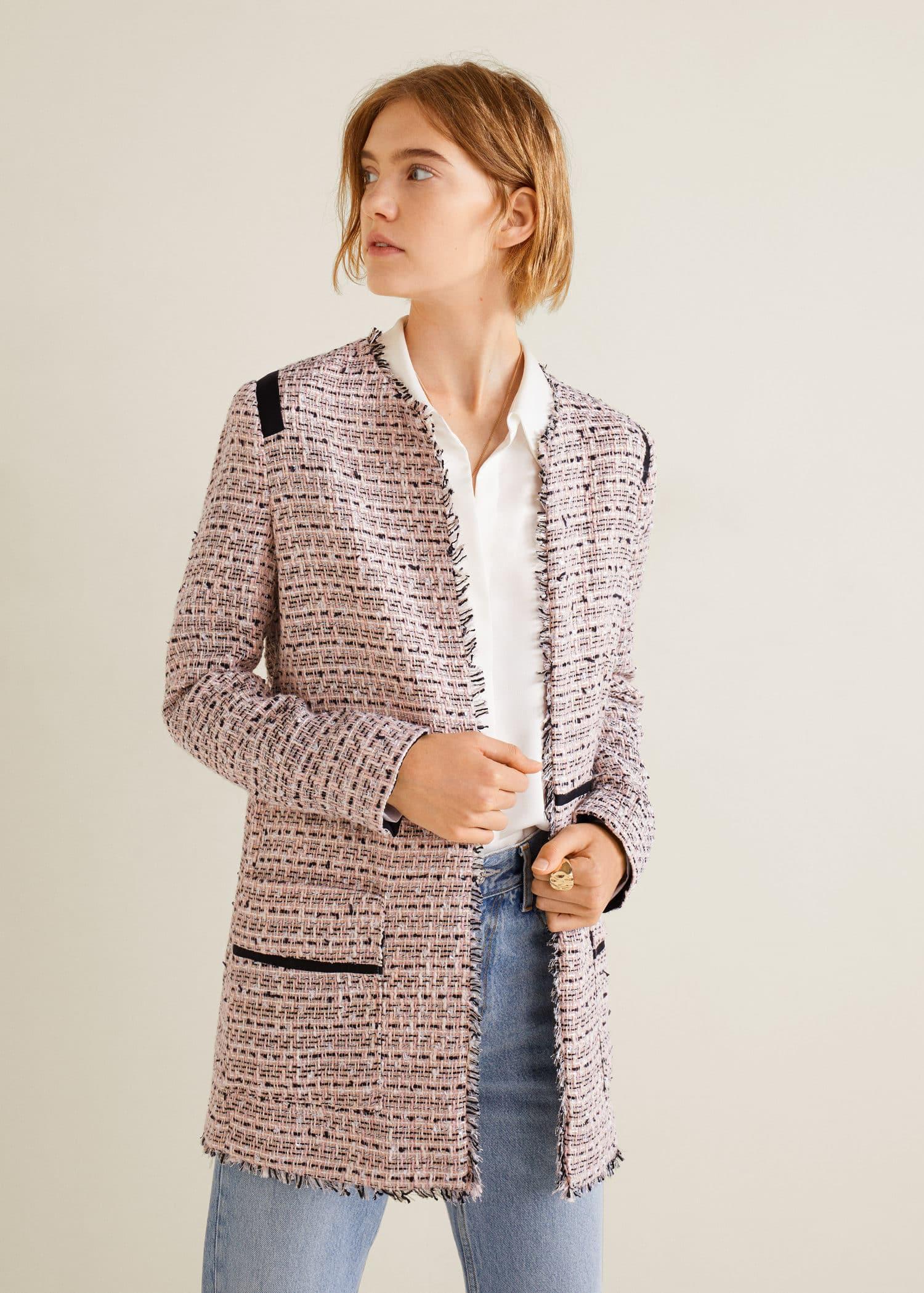 super barato se compara con compras nuevo estilo de Chaqueta tweed bolsillos - Mujer | Mango República Dominicana