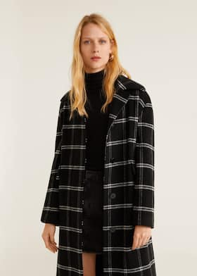 8543306abdb2 Manteau à carreaux en laine - Plan moyen