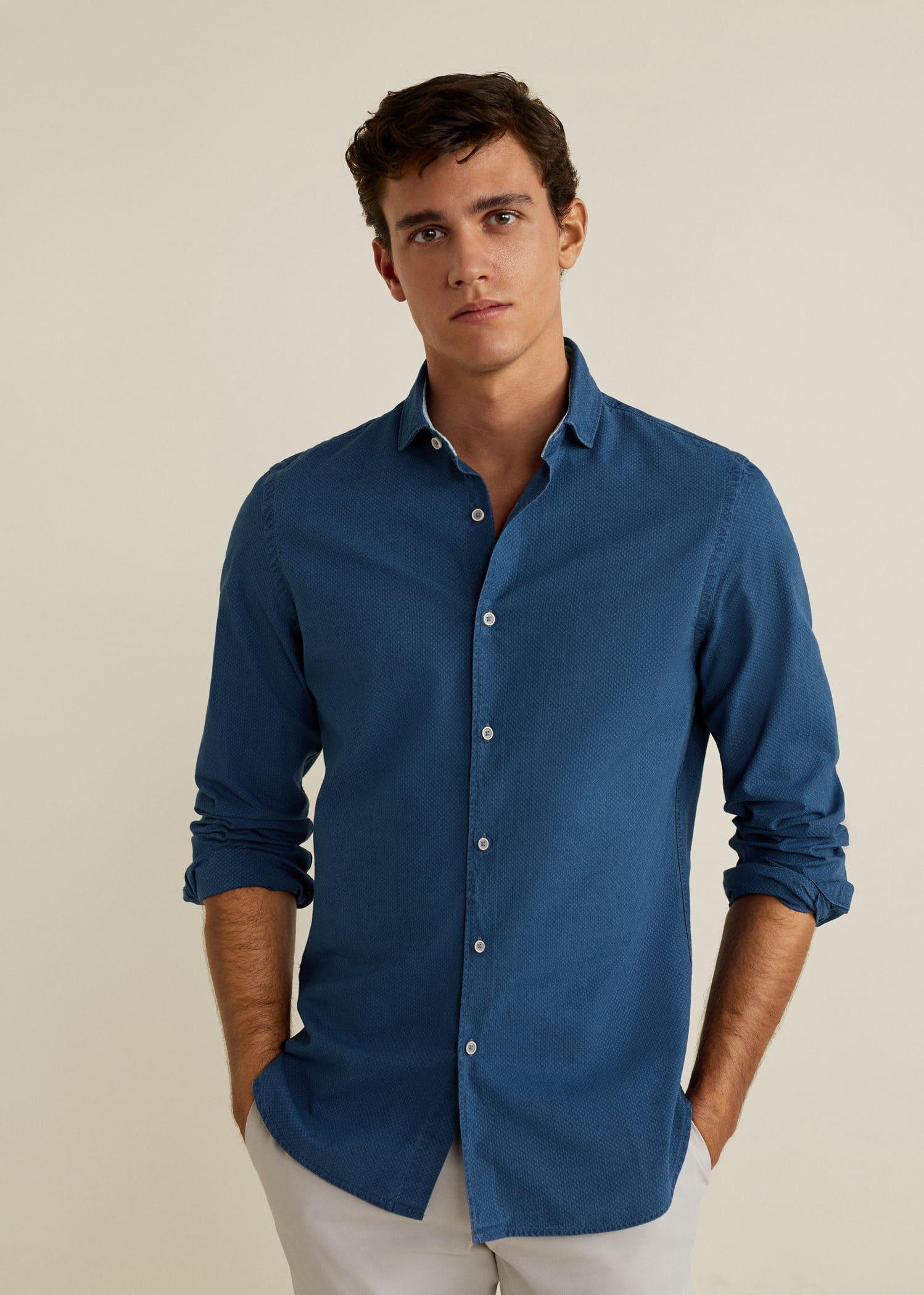 En jean - Chemises pour Homme 2019   MANGO Man France dc1fb620c1e0