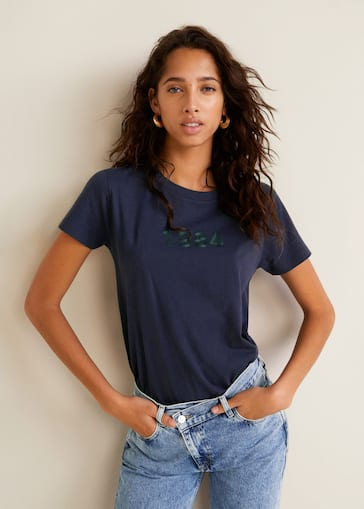 8d6b1a7cabc7 Message cotton t-shirt - Women | Mango USA