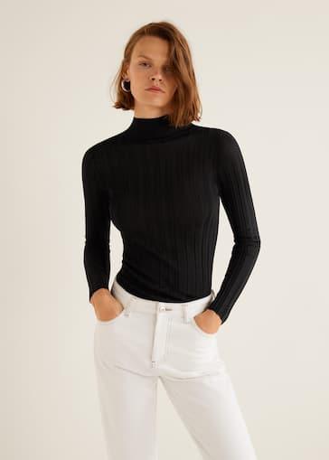 8b0c484291 Turtleneck ribbed sweater - Woman | Mango Jordan