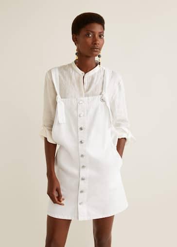 38496a523a9 White denim pinafore dress - Women