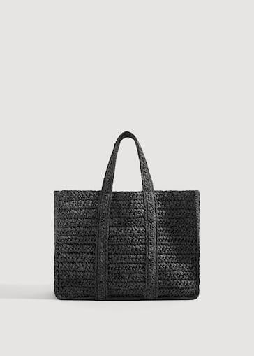 Sac shopper tressé - Femme   MANGO France ee5640d3fad3