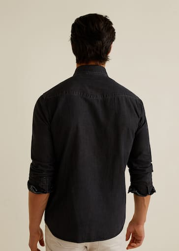 Skinny Fit Overhemd.Grijs Denim Slim Fit Overhemd Heren Mango Man Nederland