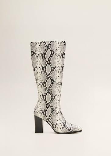 Snake-effect boots - Women   Mango USA e506c82e073