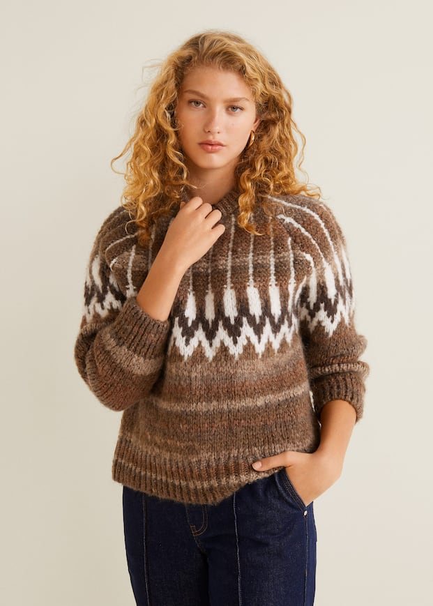 jacquard-pullover-mit-wollanteil by mango