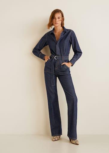 Belt denim jumpsuit - Women   MANGO United Kingdom 3a5fd56c31fe
