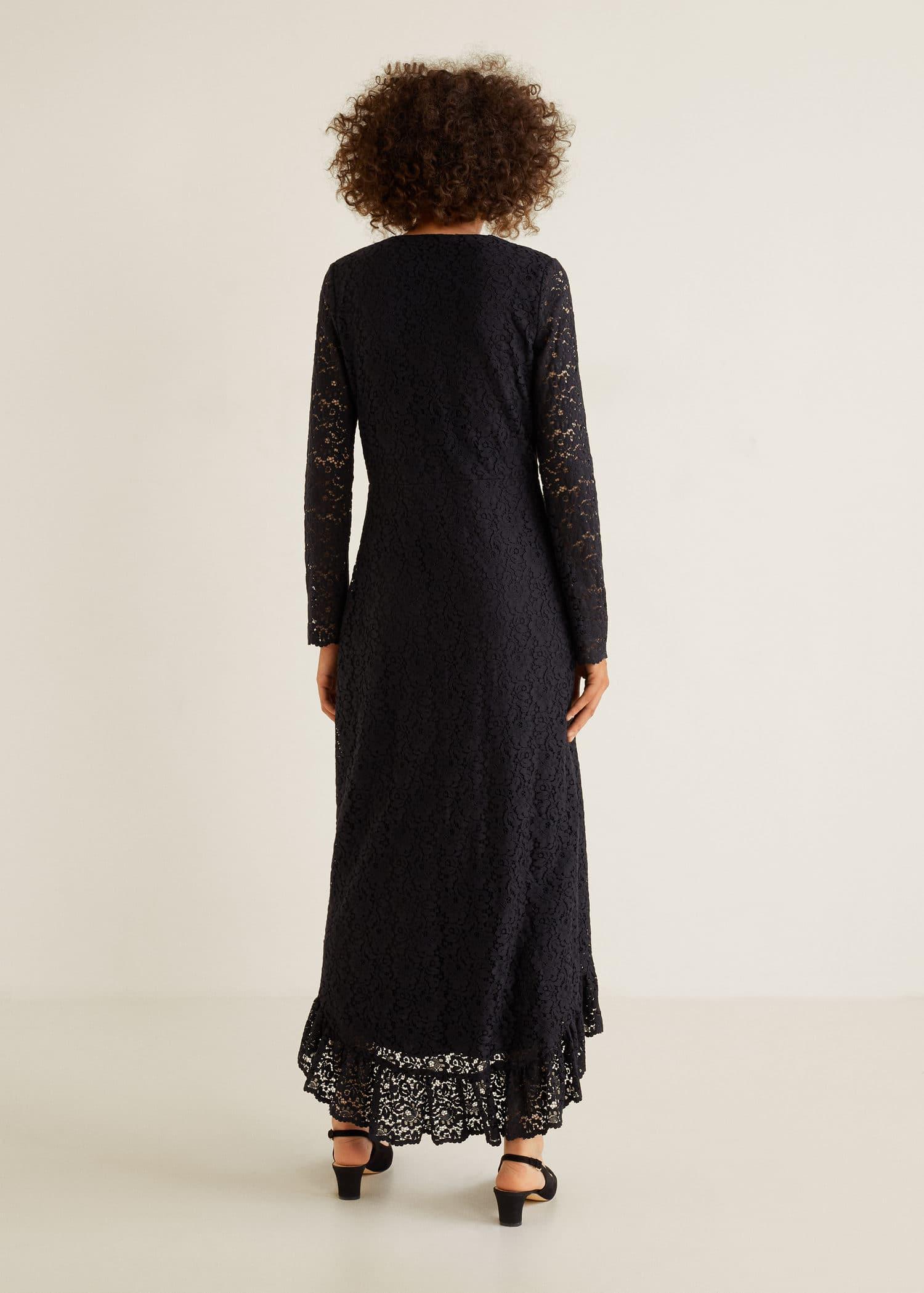 Robe longue en dentelle Femme | Mango Monaco