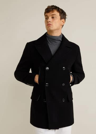 Manteau en laine à double boutonnage - Homme   Mango Man Suisse 5d56ee7e096