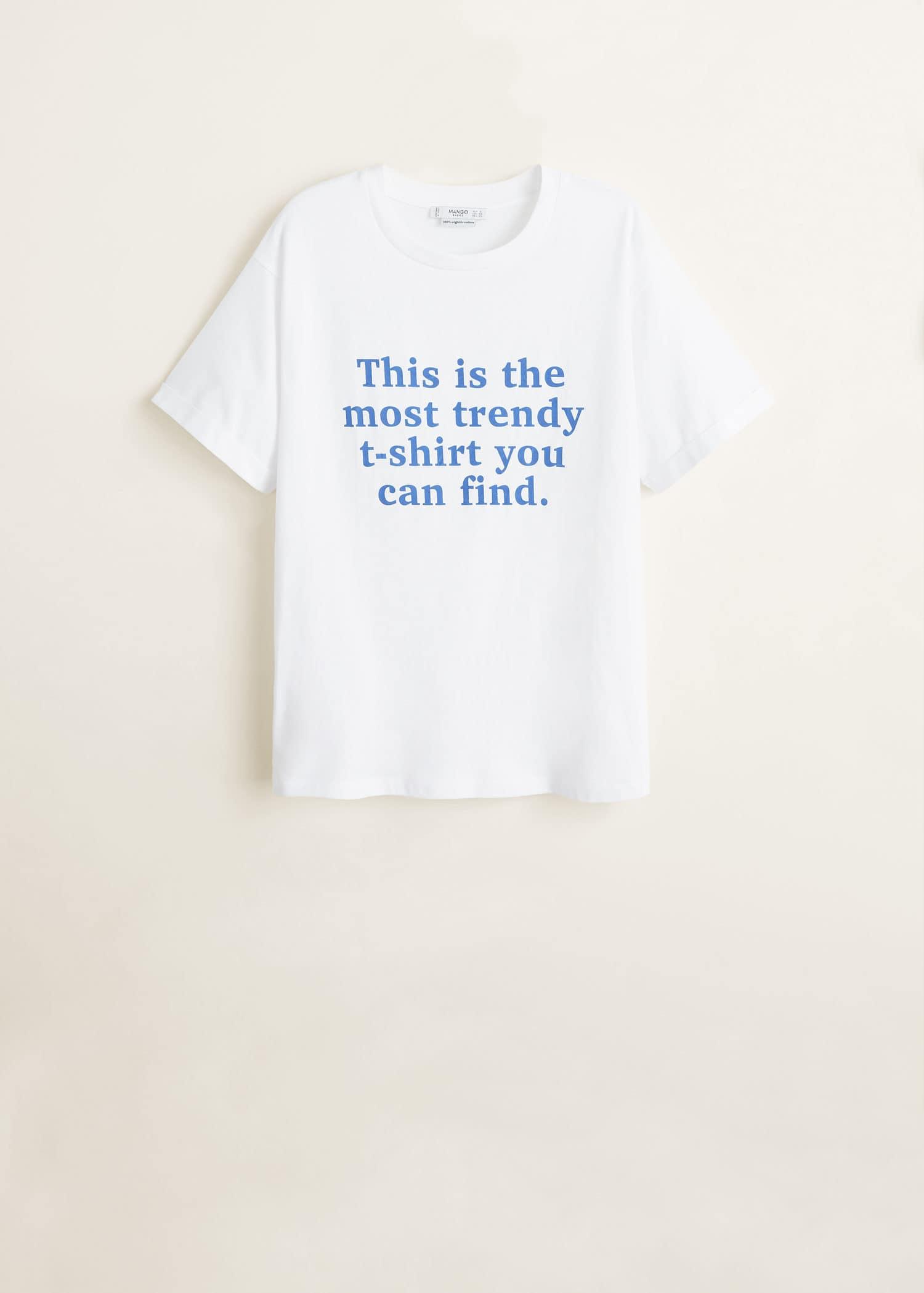 T skjorte i organisk bomull med tekst Damer | Mango Norge
