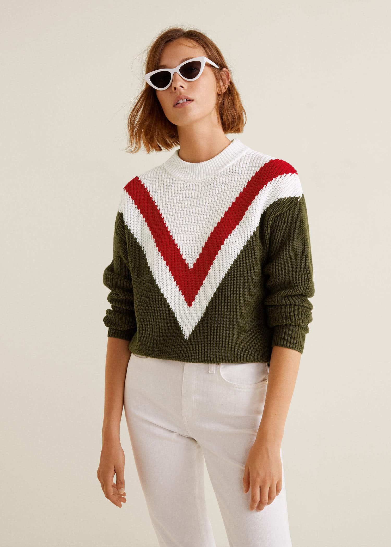 Tricolor cotton sweater Women | Mango USA