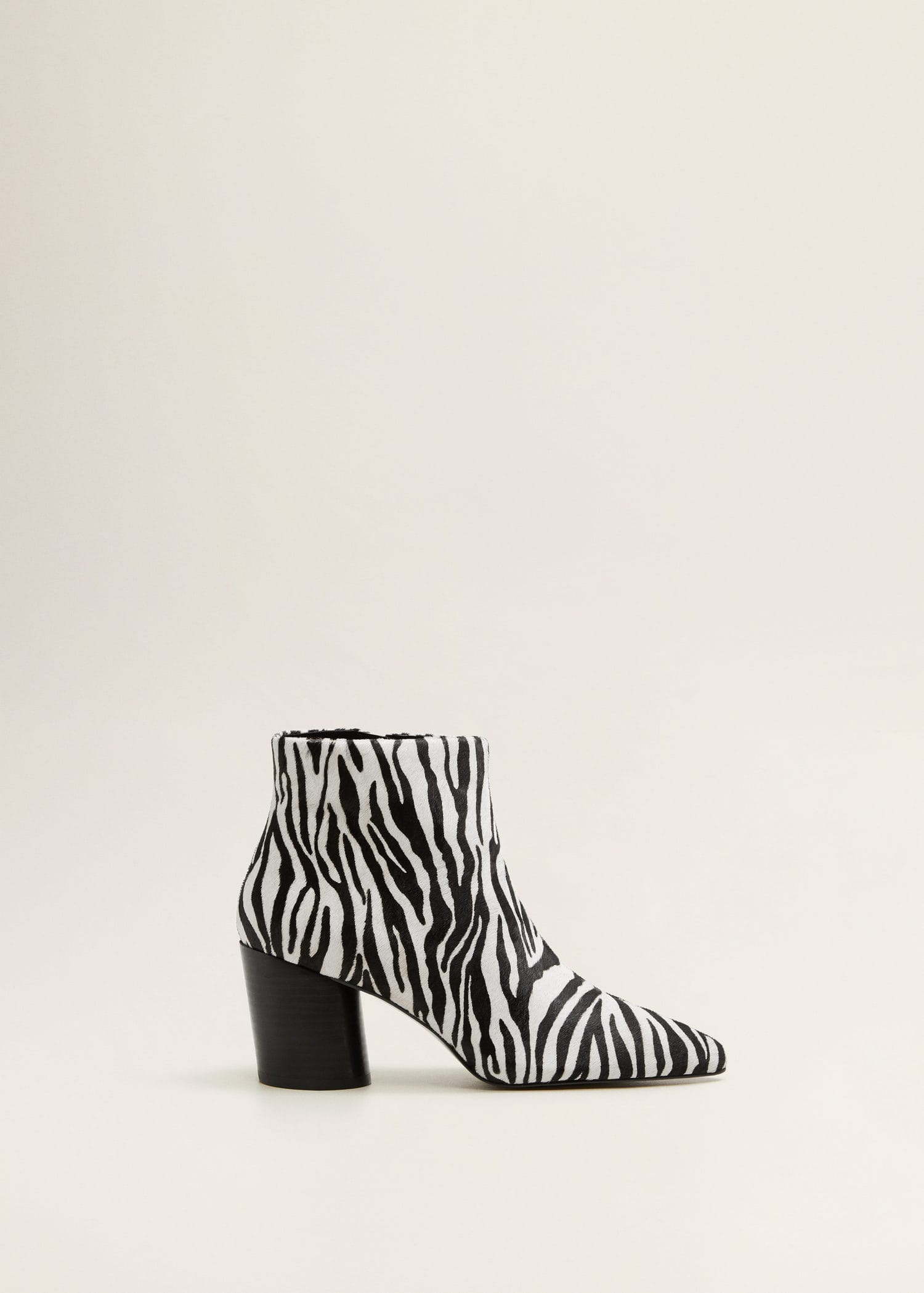Zebra leather ankle boots