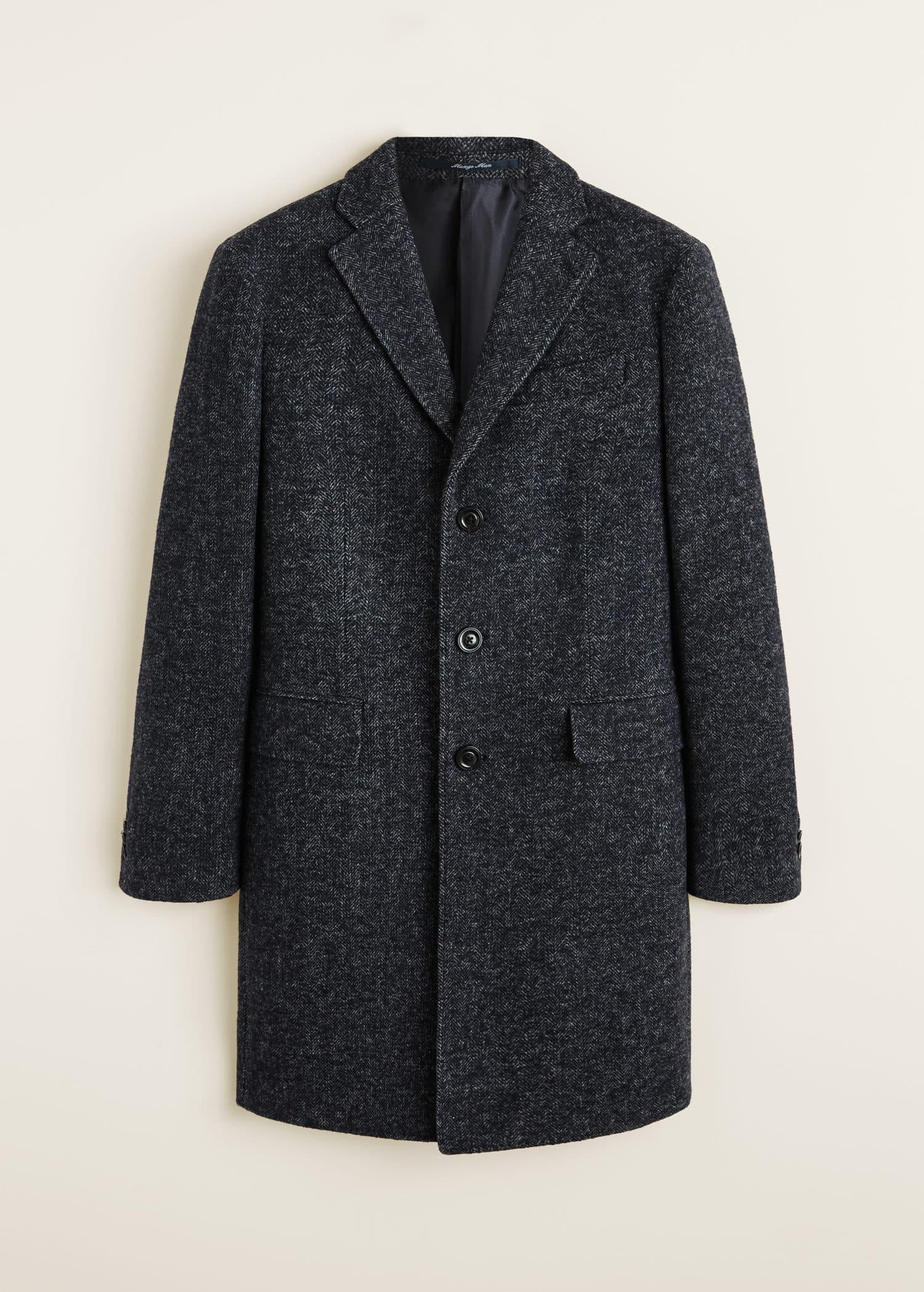 Manteau laine chevrons Homme | Mango Man France