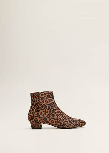 e3b12e32d47a Leopard-print leather ankle boots - Women | Mango United Kingdom
