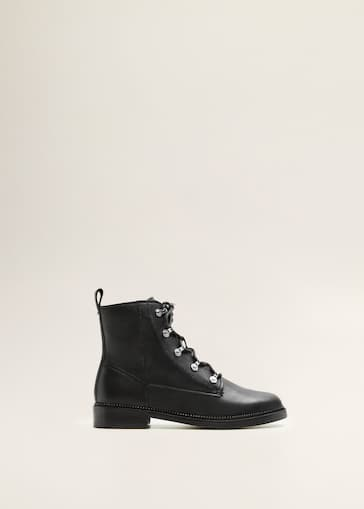 Lace-up leather boots - Women   MANGO United Kingdom 46ffcc7240ec