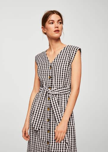 Bow Cotton Dress Woman Mango Gibraltar