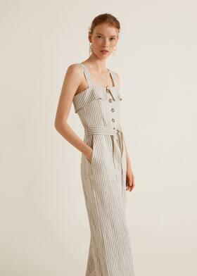 96b3ceae2d2 Linen-blend striped jumpsuit - Woman