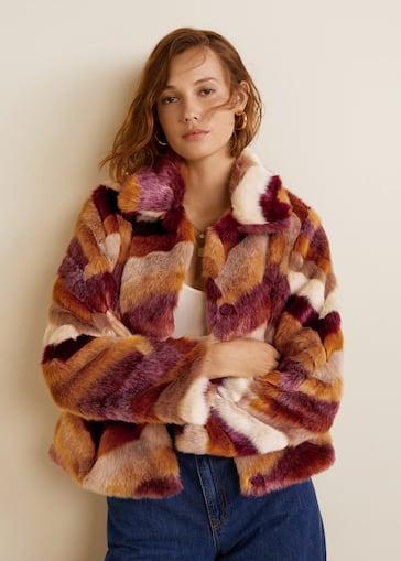 cbf832ee3e65 Multicolor faux fur coat - Women