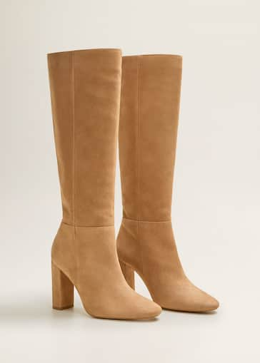 Leather high-leg boots - Women   MANGO USA 7988ca51a24f