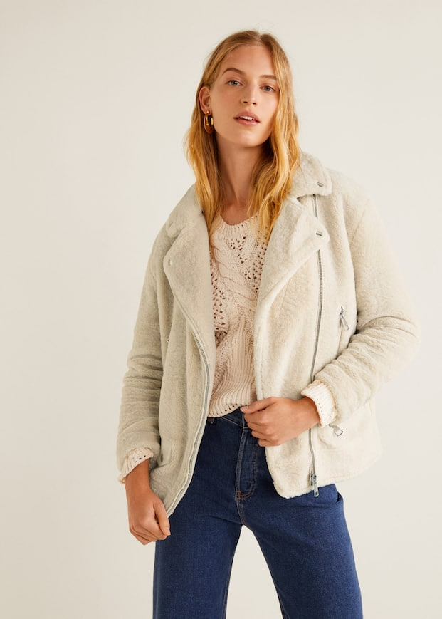 Blouson Biker En Imitation Mouton by Mango