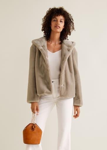 Manteau fourrure synthétique à capuche - Femme   MANGO Maroc 7ae9c70f80ce