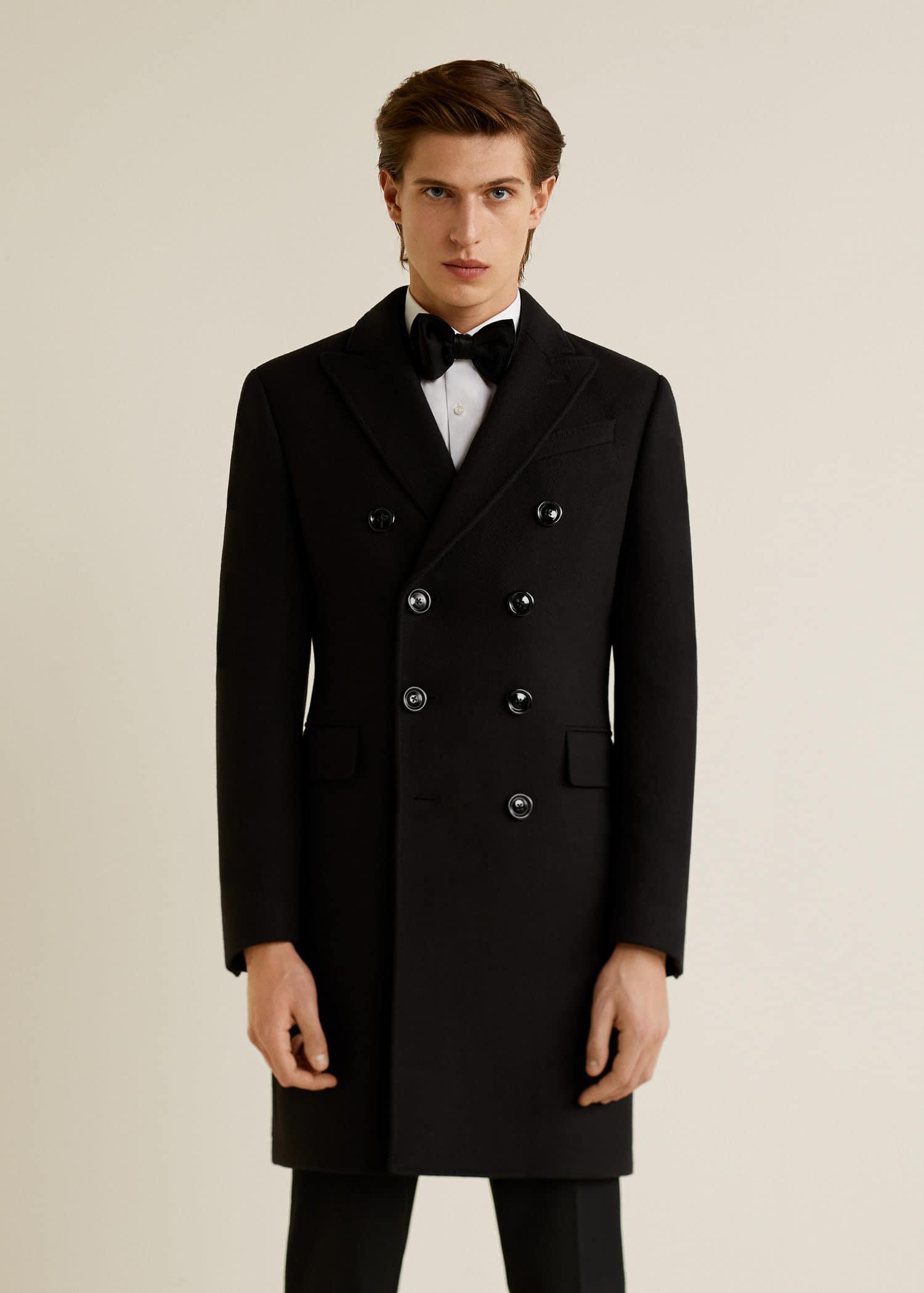Manteau laine revers amovible Homme | MANGO Man France