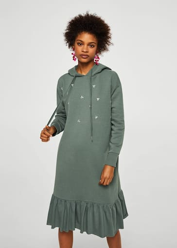 variedades anchas zapatillas en venta Robe sweat-shirt brodée
