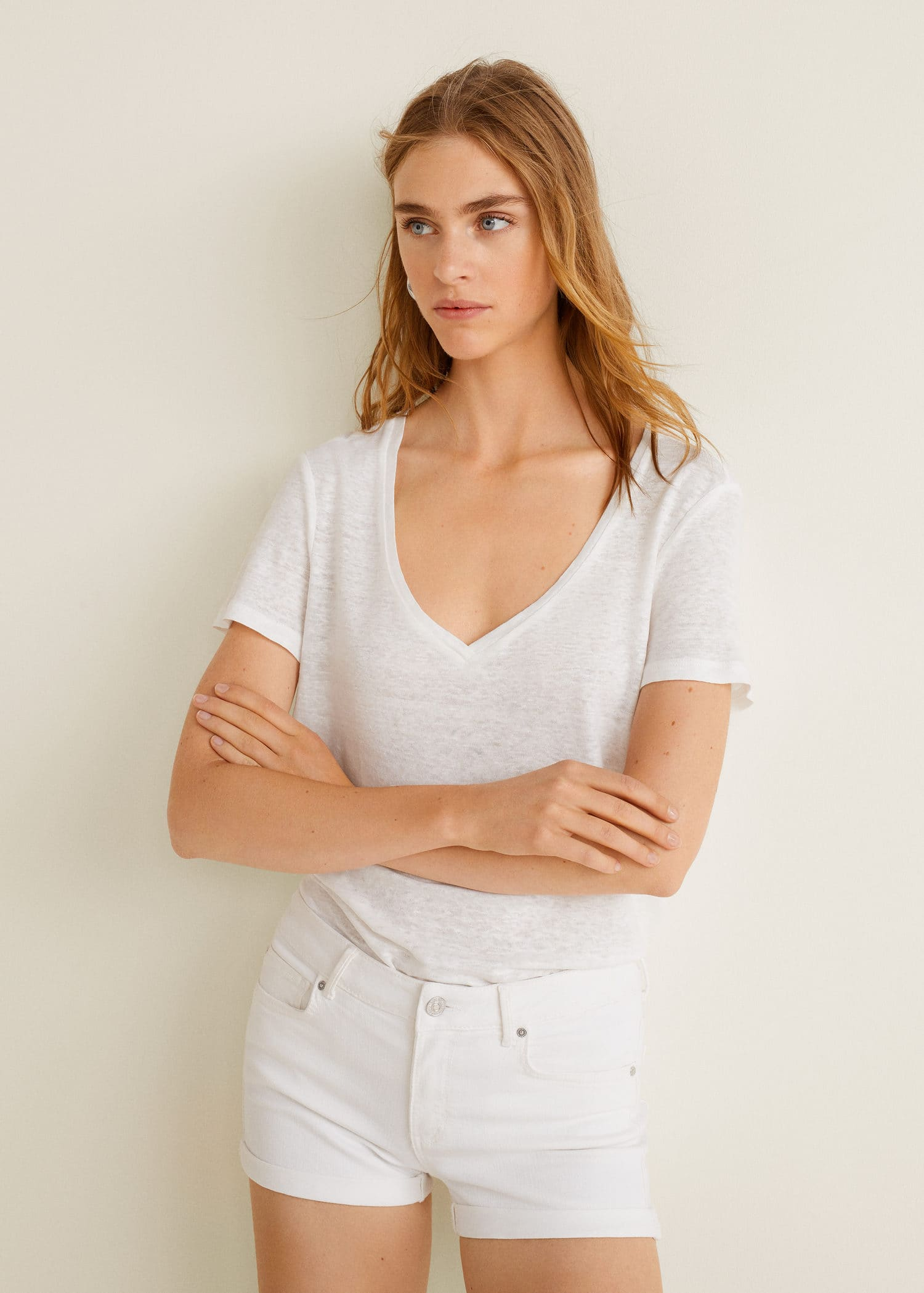 hot product clearance prices search for authentic White denim shorts - Women | MANGO USA