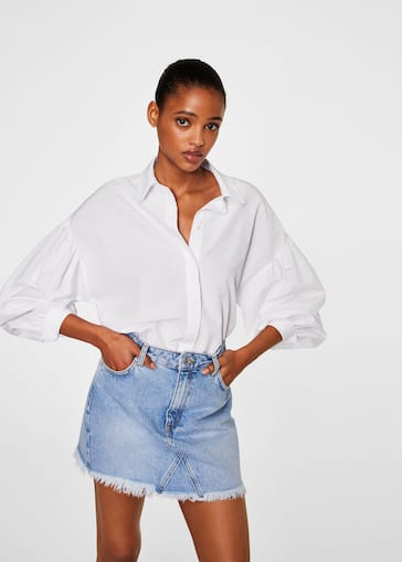 735ba9271 Frayed edges denim skirt - Women | MANGO USA