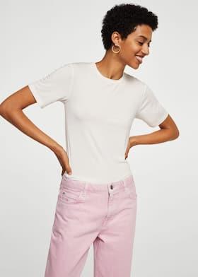 f804c188d6244 Pink denim straight jeans - Women | Mango USA