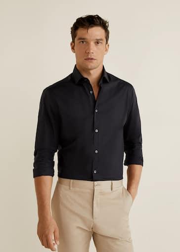 Skinny Fit Overhemd.Stretch Katoenen Slim Fit Overhemd Heren Mango Man Nederland