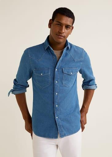 Skinny Fit Overhemd.Denim Slim Fit Overhemd Heren Mango Man Nederland