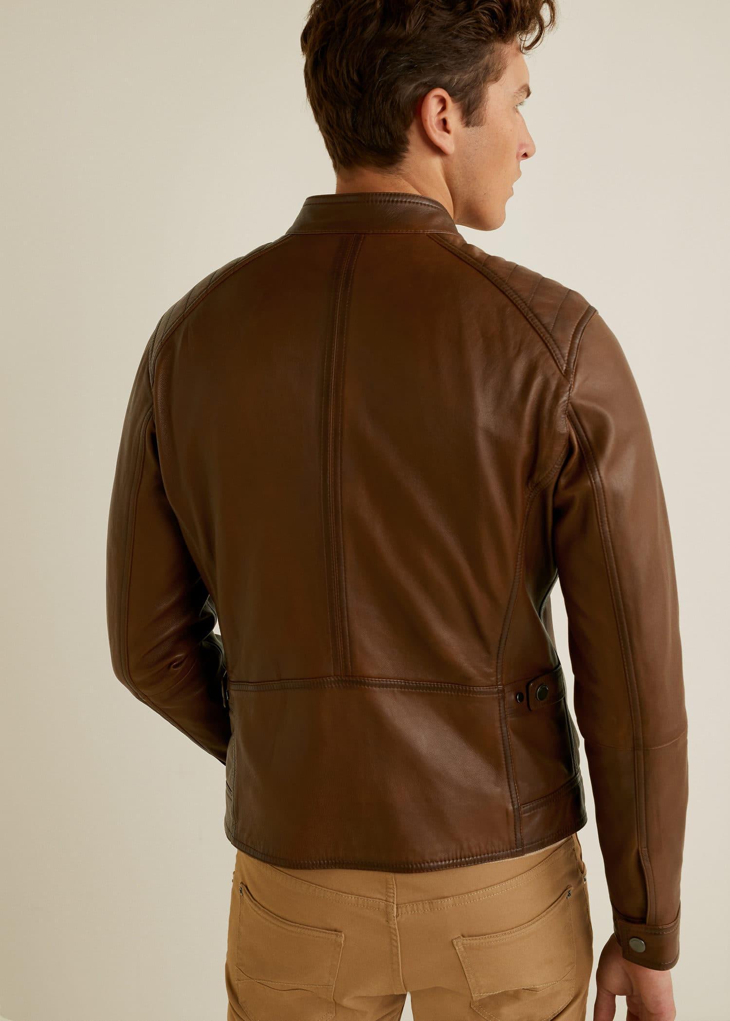 Cazadora biker piel Hombre | Mango Man España