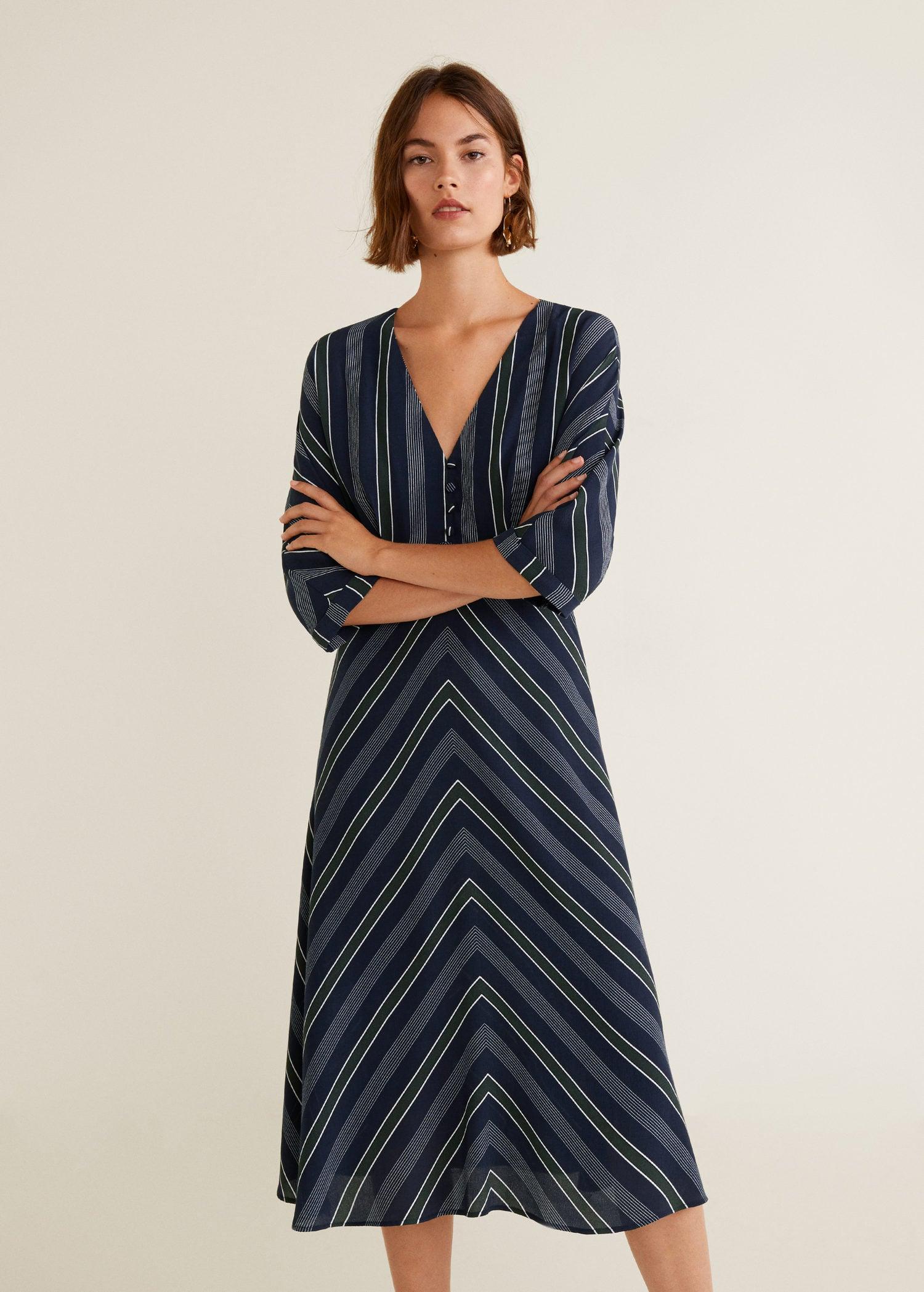 f759ae138 Stripped print dress - Woman | MANGO Romania