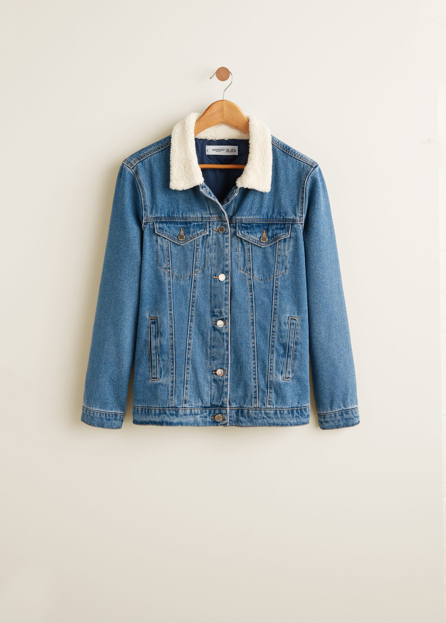 super popular b4a87 e8621 Faux shearling-lined denim jacket - Woman | OUTLET Slovenia