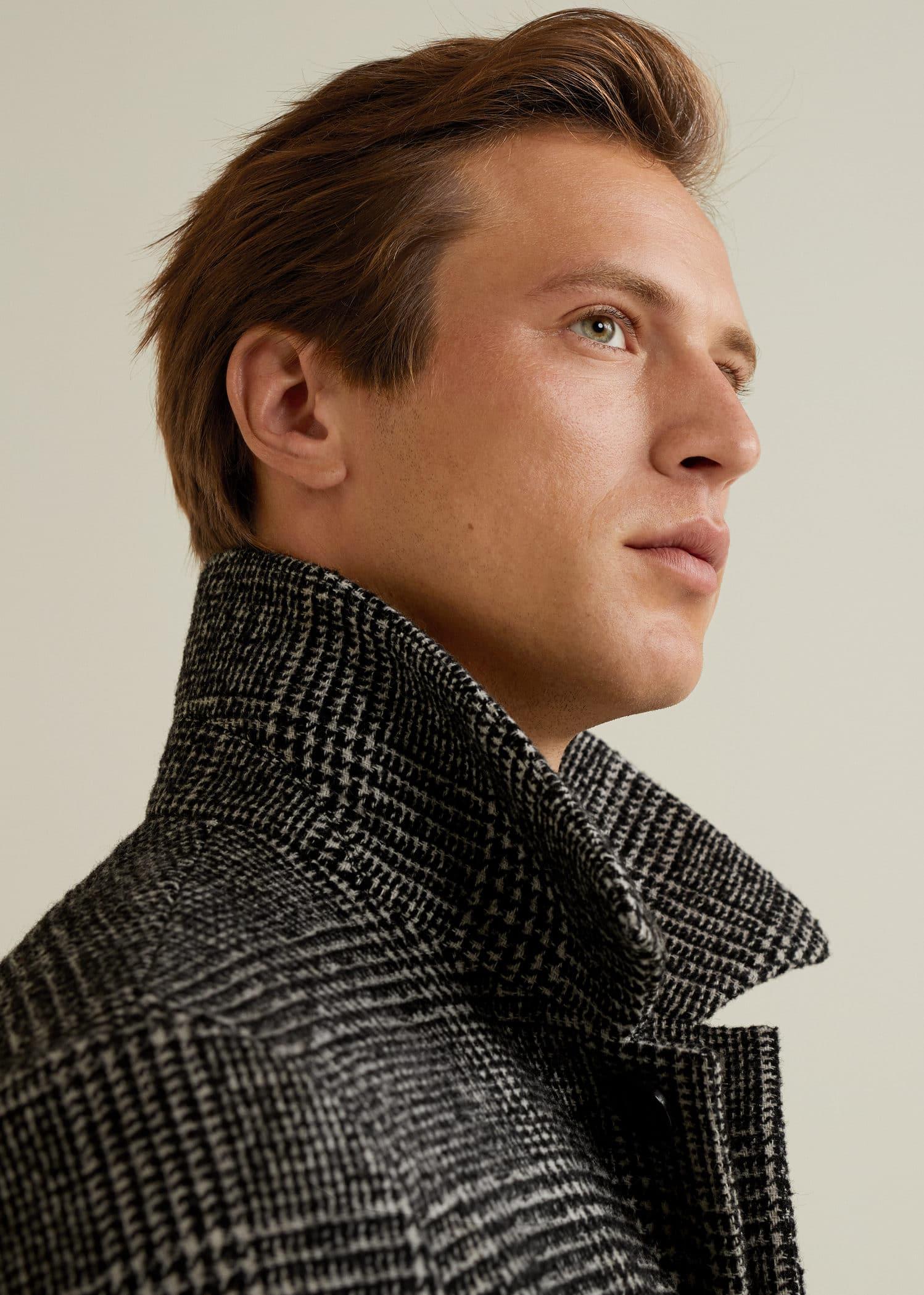 Manteau laine à carreaux prince de galles Homme   Mango