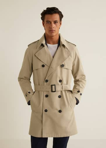 Classic cotton trench coat - Men   MANGO Man United Kingdom b12be6fe77df